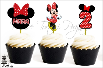 Set Toppers Personalizate Contur MINNIE MOUSE Rosu