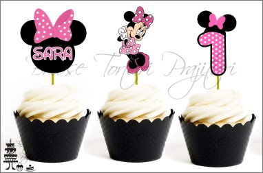 Set Toppers Personalizate Contur MINNIE MOUSE Roz