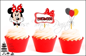 Set Toppers Personalizate Contur MINNIE MOUSE ROSU Nr. 2