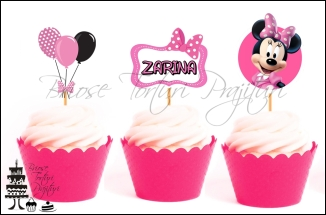 Set Toppers Personalizate Contur MINNIE MOUSE ROZ Nr. 2